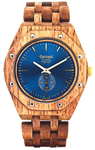 TENSE Holzuhr Herren Butternuss-Holz Ø 45 mm Armbanduhr Washington North analog Quarz J5845BN-BL