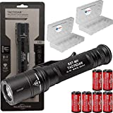 SureFire Tactician 800 Lumen Tactical EDC Flashlight Bundle with 6 Extra CR123A Batteries and 2 Lightjunction Battery Cases