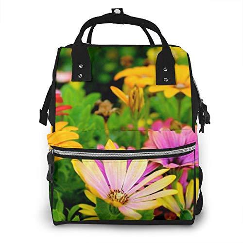 GXGZ Sac à dos imperméable à couches coloré pour fleurs de fleurs de champ, compartiment avec deux poches et huit rangements, sacs d'allaitement élégants et durables pour les parents