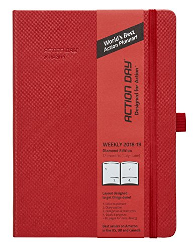 Clearance Sale - Action Day Academic Planner - JUL 2018 - JUN 2019 - #1 Time Management Planner & You Get Things Done - All Your Thoughts,Goals & Actions in One Place (7x9,Thread-Bound,Red)