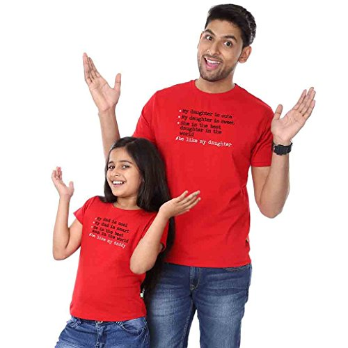 Bon Organik Be Like My Daughter Be Like My Daddy Tees Best Family Matching Dad and Daughter Tshirts Cotton T-Shirt Set for Father and Daughter(Pack of 2) (BON308-HT-RD-MG32 Dad XL -Daughter 2-4Y) Red
