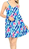 LA LEELA Mini Vestito dalla Spiaggia delle Donne Comodi oscillare Vestito dalla Maglietta della Tunica Blu_Z30 M