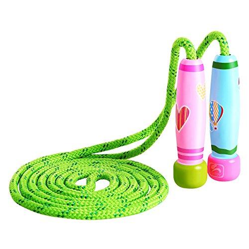Springseile Kinder Damen Springseile Verstellbare mit Bunten Holzgriff und Baumwolle Seil für Workout , Fitness un Training ,Rosa