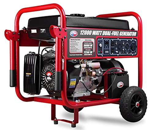 All Power America APGG12000GL 12000 Watt Dual Fuel Portable Generator with Electric Start 12000W Gas/Propane, 50A 120/240V AC Outlet, Black/Red
