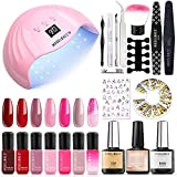 Modelones Gel Nail Polish Kit with 48W Nail Lamp - 7 Red Nude Colors Gel Nail Polish Set, No Wipe Base Top Coat, Nail Primer, Nail Art Decorations, Manicure Tools, DIY Starter Kit Ideal Gift for Her