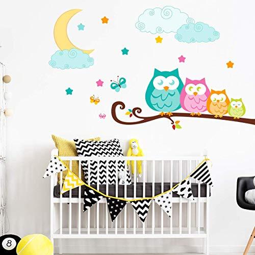 Stickers adhésifs Enfants | Sticker Autocollant hiboux en famille - Décoration murale chambre enfants | 50 x 65 cm