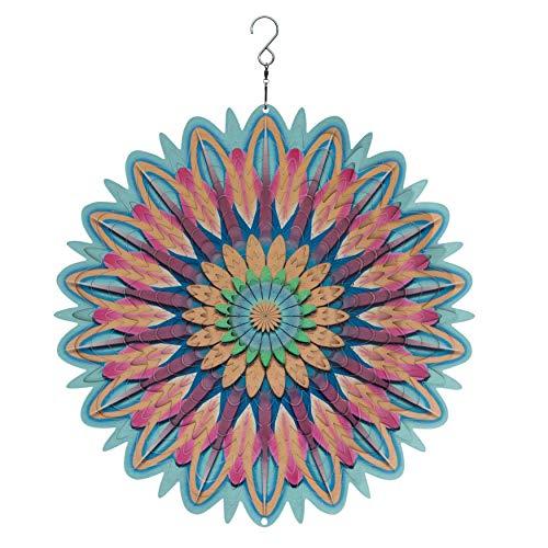 Spin Art Windspiel aus Metall, Mandala-Blume, 30,5 cm