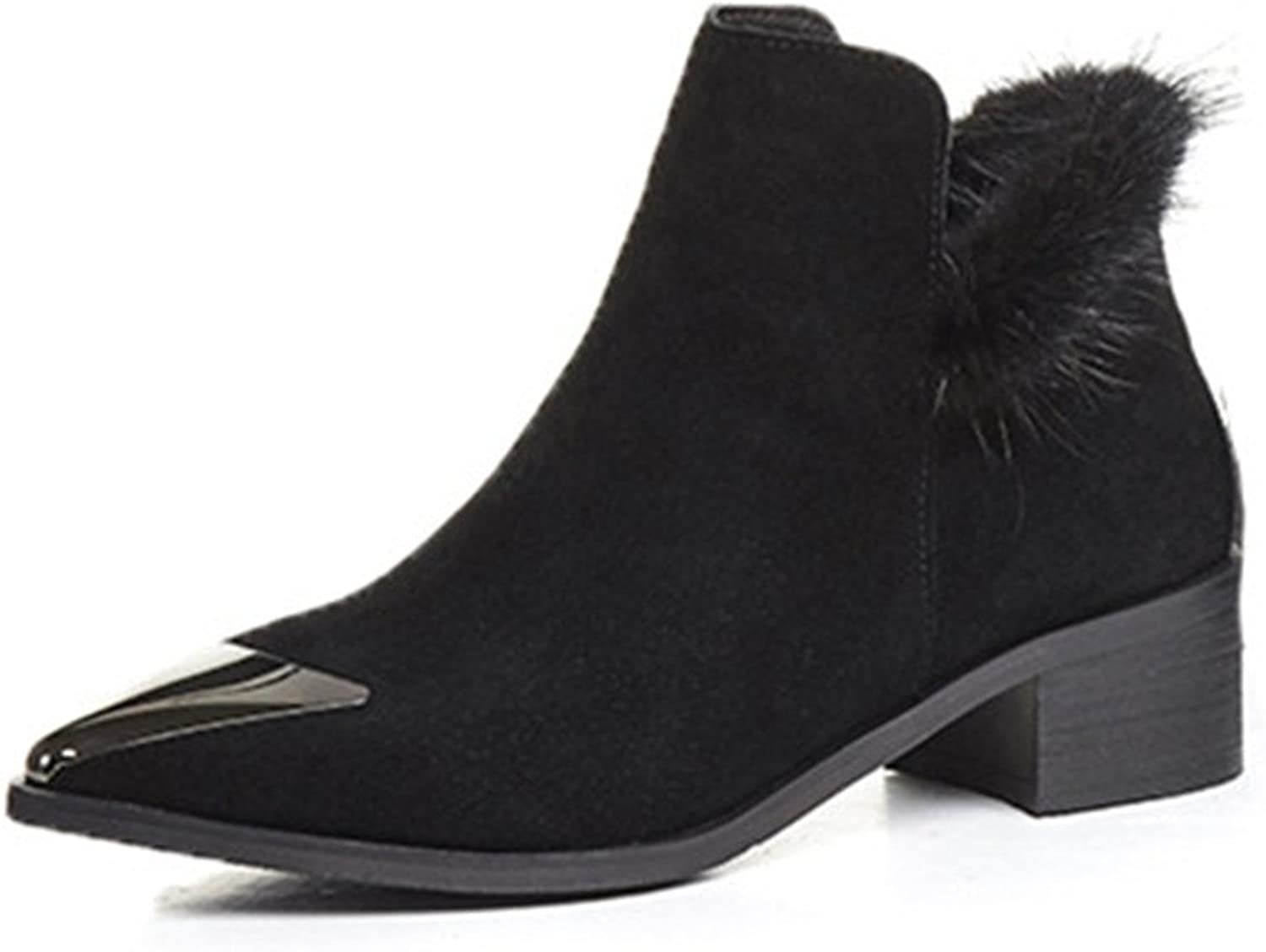 Nine Seven Suede Leather Women's Pointed Cap Toe Chunky Heel Handmade Ankle Bootie with Fur