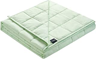 ZonLi Weighted Blanket 12 lbs(48''x72'', Twin Size, Aqua), Cooling Weighted Blanket for Adults, 100% Cotton Material with Glass Beads