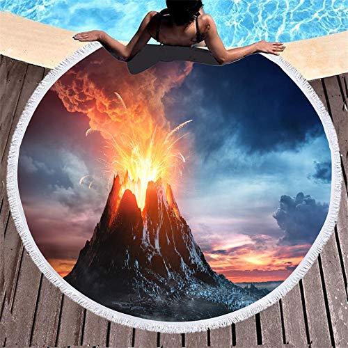 BCDJYFL 3D Toalla De Playa Volcánico 3D Playa Grande Absorbente Manta De Verano Resistente A Arena Viaje Super Ligero Piscina Natación Playa De Yoga.-Diámetro: 150Cm