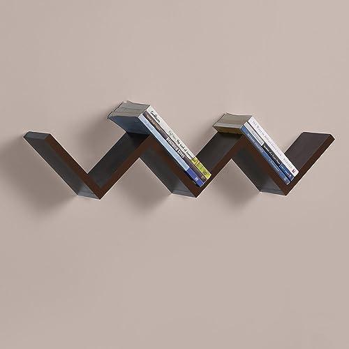 Driftingwood W Shape Wall Mount Book Shelf Zigzag Wall Shelf - Rich Walnut Finish