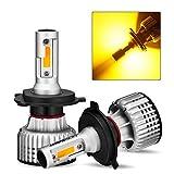 NOVSIGHT【正規保証品】 led ヘッドライト H4Hi/Lo LEDバルブ 正規COBチップ搭載 取り付け簡単 10000LM(5000LM*2) 72W(36W*2) 明るく高輝度 DC9-32V車対応 3000K 2年保証 (イエロー 2個入)