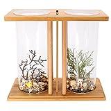 dDanke Kit de acuario con vista de 360 grados, mini tanque de cristal con jarrón de cristal doble y estante de bambú para peces Betta Goldfish