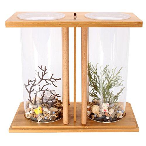 dDanke Kit de acuario de 360 grados para peces con jarrón de cristal dual y estante de bambú para peces Betta y peces dorados