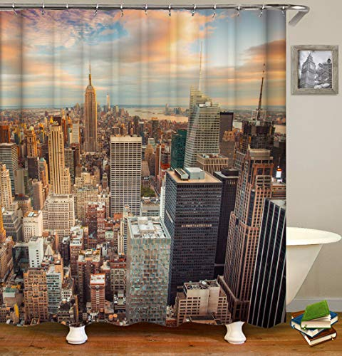 Eleroye 72 x 72 inches Shower Curtain Sunset New York Skyscrapers Empire State Building Water Soap Resistant Machine Washable Fabric Bathroom Decor Set with Hook Bath Curtain