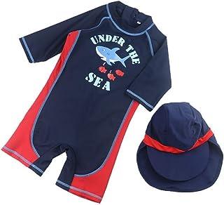 水着 男の子 ベビーガード ワンピース水着 半袖 セット 帽子 キッズ ベビー服 ラッシュ ジュニア 子供 かっこいい かわいい 海水パンツ 紫外線カット スイムウェア スイミング カジュアル 夏 S-2XL