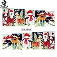 ネイルサロン1ピース透かしステッカーdiyネイルデカール水転写雪だるまヘラジカ漫画クリスマスデザインマニキュアSABN229-240 BN236