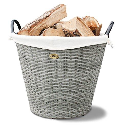 HABAU Feuerholzkorb mit Metallrahmen, grau, 48 x 48 x 39 cm