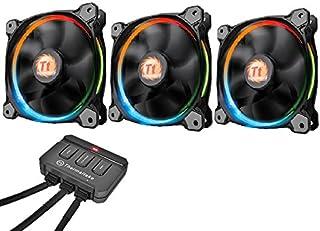 Thermaltake Riing 12 LED - Pack de 3 Ventiladores, Color Negro