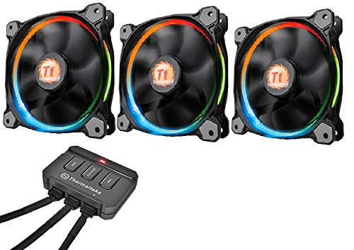 Thermaltake Riing 12 LED - Pack de 3 Ventiladores, Color Negro