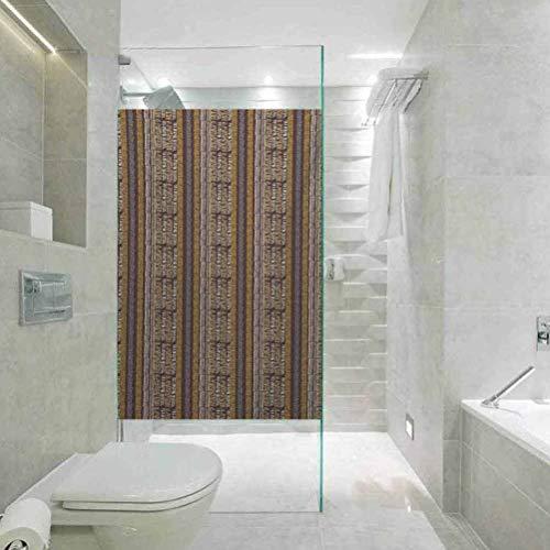 Adhesivo para ventana de cristal con protector solar, diseño tradicional de Zambia dibujado a mano con geométrica digital, sala de estar, dormitorio, cocina, vestíbulo, porche oficina, 59,6 x 199,9 cm