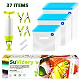 Sous Vide Bags By SuVidery - 30 Reusable Multi Size Vacuum Sealer Bags Kit With Hand Pump - Easy To...