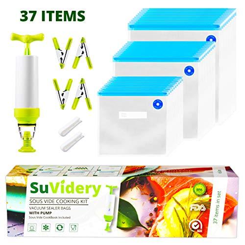 SuVidery Sous Vide Beutel – Wiederverwendbare Vakuumbeutel – 3 Größen Sous Vide Bag Kit mit Clips und Pumpe 37 Pieces