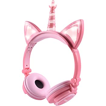 Kids Headphones, Cute Uncorn Cat Ear Headphones Foldable and Adjustable Safe Wired Kids On Ear Headphones for Girls, Teen, Adult, Cosplay/Dance/Party/Birthday Gifts