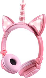 Kids Headphones, Cute Unicorn Cat Ear Headphones Foldable and Adjustable Safe Wired Kids On Ear Headphones for Girls, Teen...