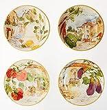 Certified International Corp Piazzette 9.25' Soup/Pasta Bowls, Assorted Designs, Set of 4, Multicolor