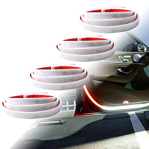 4pcs Barra Luz LED para Puerta Automóvil, 1.2M Universal Flexible Tira de Luces LED Coche Dos Colores Luz Puerta Coche Rojo/Blanco para Iluminación Decoración y Advertencia Anticolisión