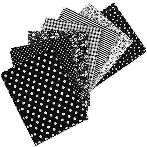 7 x Patchwork Stoffe aus Baumwolle, 50 x 50 cm, Verschiedene Motive, Farbe: schwarz