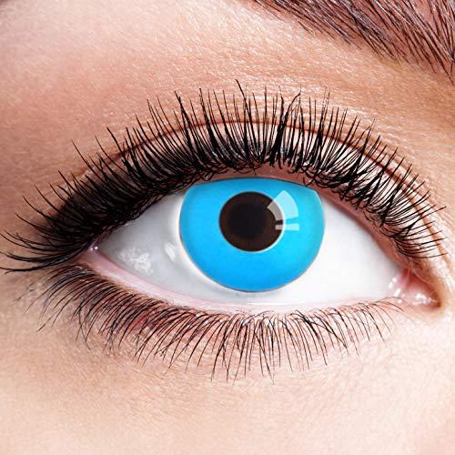 Farbige Kontaktlinsen Blau Ohne Stärke Blaue Jahreslinsen Weiche Motiv-Linsen Farbig Halloween Karneval Fasching Cosplay Kostüm hellblau Ice Blue ohne Rand