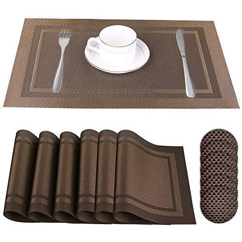 Xnuoyo Tischset Und Untersetzer Sechsteiliges Set, Waschbare rutschfeste, Verbrühungshemmende Und Wärmeisolierende Tischmatte Kaffeematte, Geeignet Für Restaurants, Küchen, Hotels, Cafés (Brown)