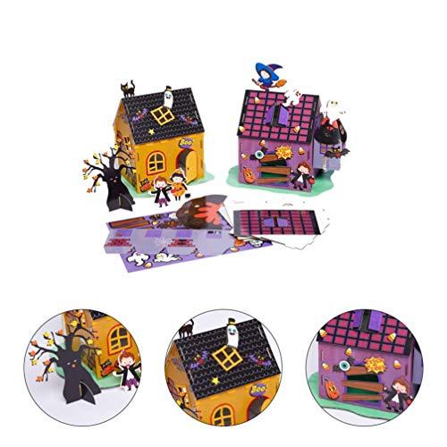 ADSE 2 uds DIY Kit de casa de muñecas en Miniatura de Halloween Casa de artesanía de Papel para Manualidades de Bricolaje Juguete de Regalo Decoración de Mesa de hogar de Halloween Estilo Aleatorio