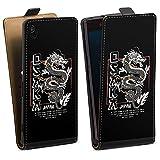 DeinDesign Étui Compatible avec Sony Xperia Z3 Étui à Rabat Étui magnétique Japon Dragon Mer