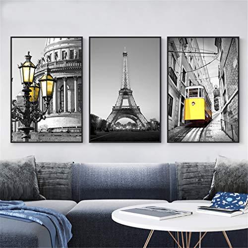 ZSLMX Modern Zwart En Wit Parijs Eiffeltoren Met Gele Kabel Auto Bus En Stad Licht Canvas Wall Art - Klaar om Hang Canvas Print Artwork Voor Thuis Of Office Wandmuurschildering