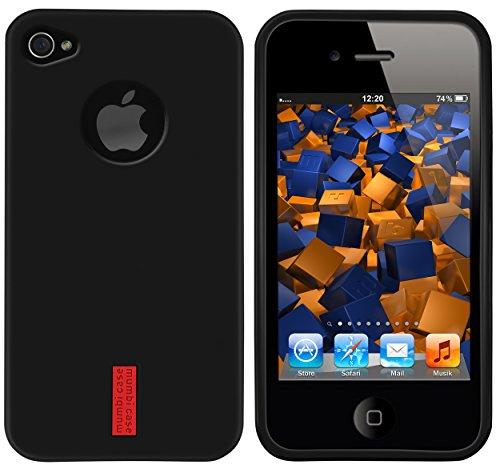 mumbi Hülle kompatibel mit iPhone 4 / 4S Handy Case Handyhülle, schwarz mit rotem Streifen