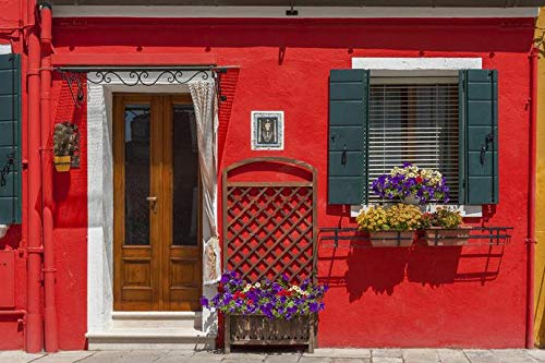 Burano Island, Venice, Italy - Colorful Red Residential Home with Purple Flowers A-9014923 (9x12 Art Print, Wall Decor Travel Poster)