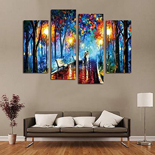 Olydmsky Cuadros dormitorios Modernos,Pintura Mural Arte de la Pared para salón HD de inyección de Tinta con Dosel Parejas Caminando en la Calle en un lluvioso murales de decoración de casa de Noche