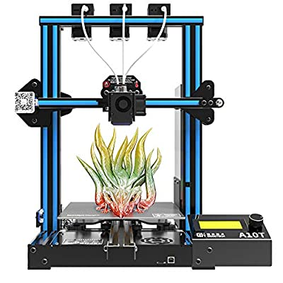 Geeetech - GIANTARM A10T Upgraded 3D Printer with Three Extruders, Three- Colors Printing 3D Printer, 95% Preassemble Metal 3D Printer with Magnetic Bed, Build Volume as 220x220x260mm