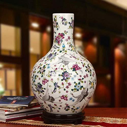 LIUYULONG Jarrones Tradicional China Pintura Harina Embellish Downy cerámica del florero de...