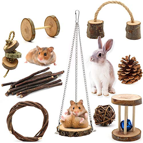 ZALALOVA Guinea Pig Toys, 9Pcs Natural Wooden Pine Hamster Chew Toys Rats Chinchillas Toys Accessories Dumbells Exercise Bell Roller Teeth Care Molar Toy for Bunny Rabbits Gerbils Xmas Gift