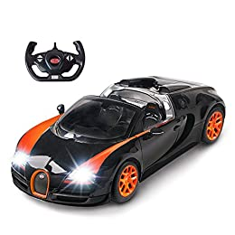 Officially licensed by Bugatti; 1/14 scale remote control Bugatti Veyron toy car made on the real Bugatti Veyron 16.4 Grand Sport Vitesse car; Toy Bugatti car measures 12.6x5.9x3.5 inch. Striking interior/exterior - Convertible top, working xenon sty...