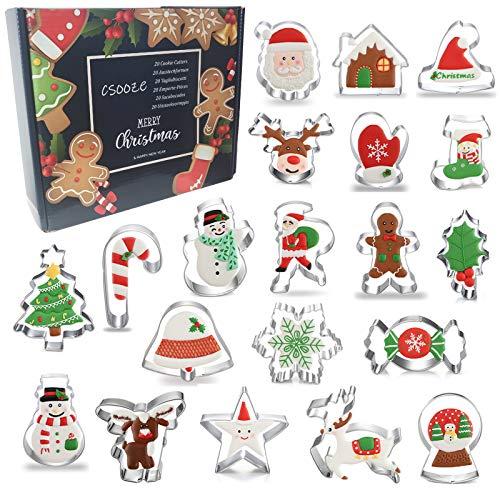 Csooze Set di Formine per Biscotti Natale Grandi 20 Pezzi - Stampi Acciaio Inox per Biscotti Natalizie | Babbo Natale, Renna, Stampella, Agrifoglio