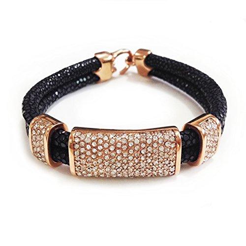 Schwarz Stachelrochen Armband mit Suqare Kristall für Herren Schmuck Armreifen