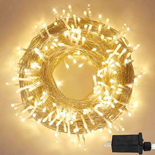 Extra-Long Extendable 82FT 200 LED Christmas String Lights, Super Bright Outdoor Lights with 8 Lighting Modes, Holiday Party Wedding Decoration Indoor Outdoor Fairy Lights (Warm White)
