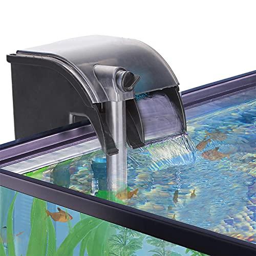 Nobleza - Filtro de Acuario, 3 en 1 Filtro de Acuario Colgante 280L/H, Sistema de Filtración con Bomba de Agua Integrada, Diseño de Flujo de Agua en Cascada, Ahorro de Energía 5W
