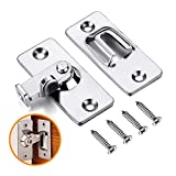 Coardor Stainless Steel 90 Degree Right Angle Buckle Hook Lock Bolt with 4 Screws for Sliding Door, Hardware Locks Bolt Household Accessories