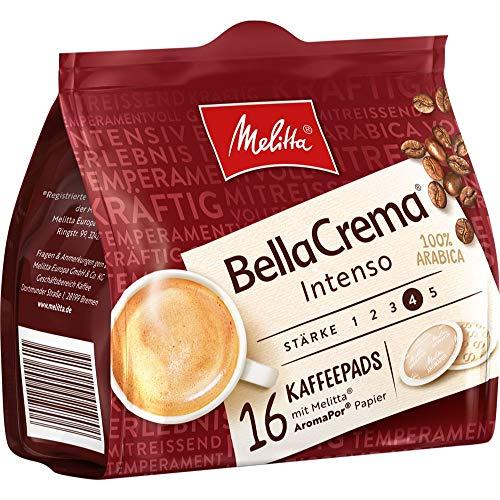 Melitta gemahlener Röstkaffee in Kaffeepads, 16 Pads, 100% Arabica, starkes Aroma, intensiver Geschmack, Stärke 4, BellaCrema Intenso